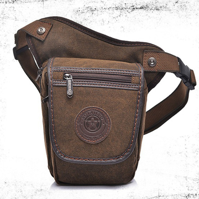 High Quality Canvas Men Drop Leg Bag Military Motorcycle Ride Travel Male Belt Bum Waist Fanny Pack Small Messenger Shoulder Bag