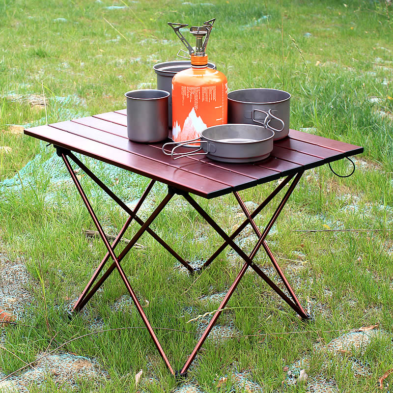 Big Small Brown Folding Portable Picnic Table Chair  Camping Table Outdoor Furniture