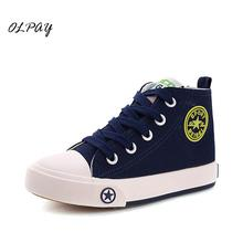 Childrens canvas shoes springtime new style High help Male girl student Basic paragraph Baby leisure casual Four colors