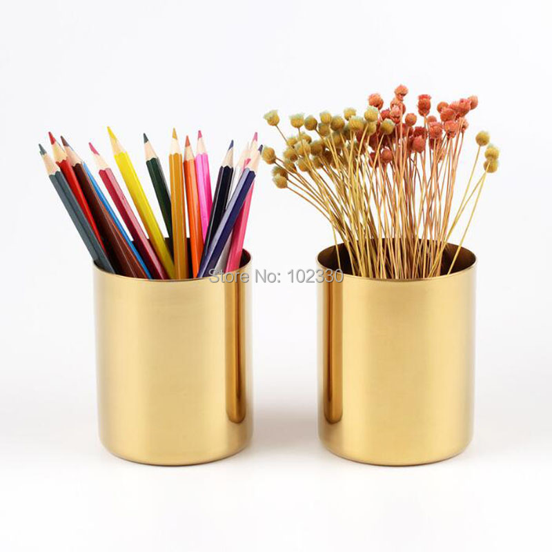20pcs 400ml Nordic Style Br Gold Vase Stainless Steel Cylinder Pen Holder For Desk Organizers Stand Pencil Pot In Vases From Home Garden On