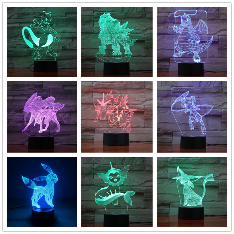 Pokemon Pikachu 3d Lamps 7 Color Led Christmas Decorative Lights For Kids Room Touch Led Usb Baby Sleeping Nightlight