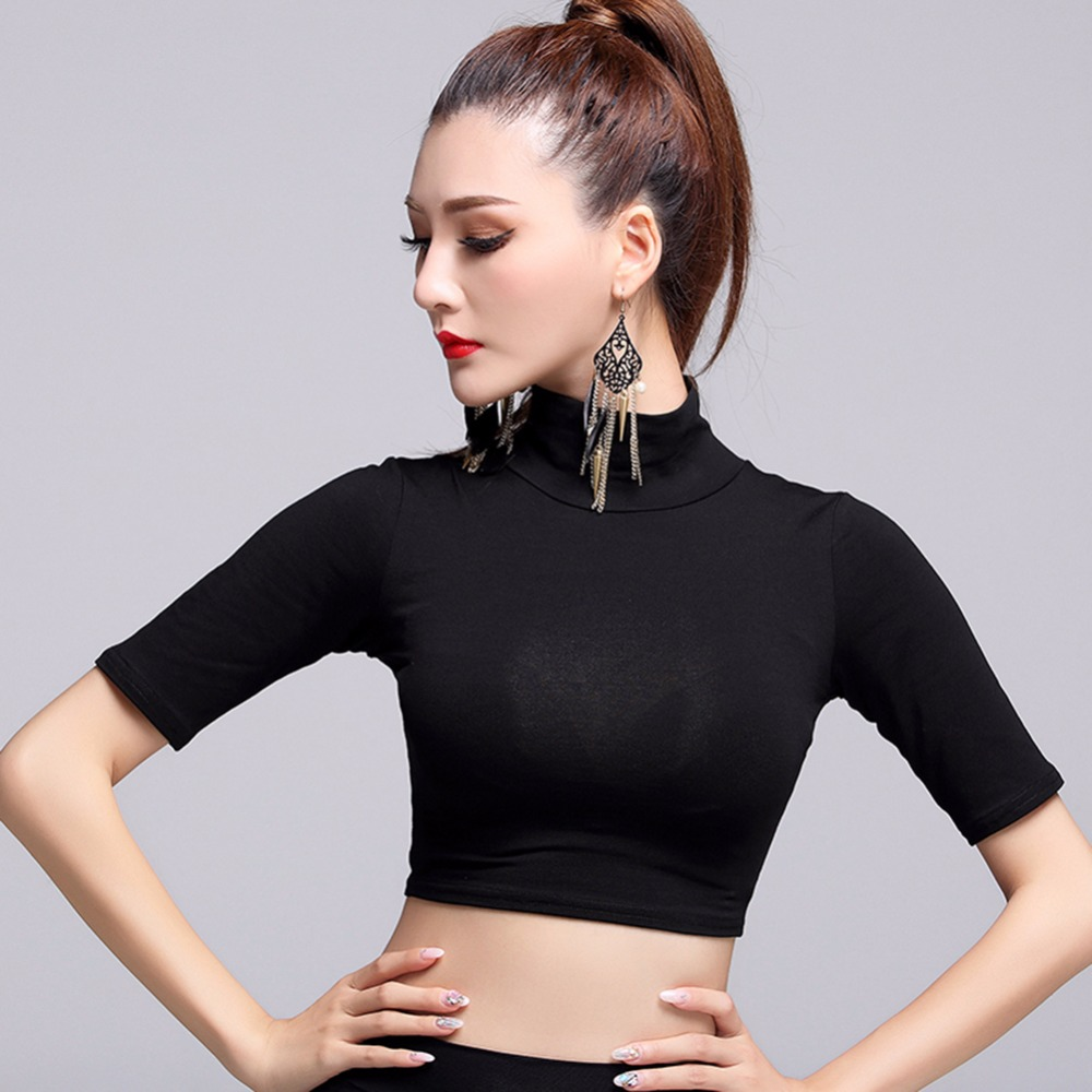 2017 New Sexy Latin Dance Tops Women Black M/L/XL High Collar Shirt Rumba/Samba/Paso Doble/Cow Boy Stage Top MD6210