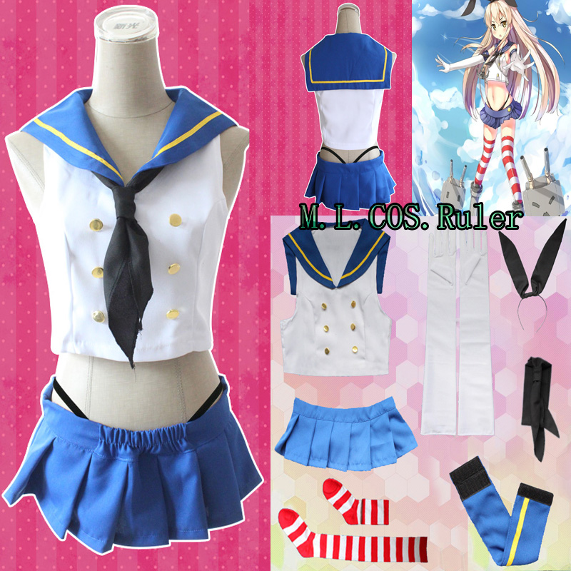 HOT Japanese Anime Collection Kantai Shimakaze Destroyer Cosplay Costume Full Suit Cute Adult Girls Uniform COS