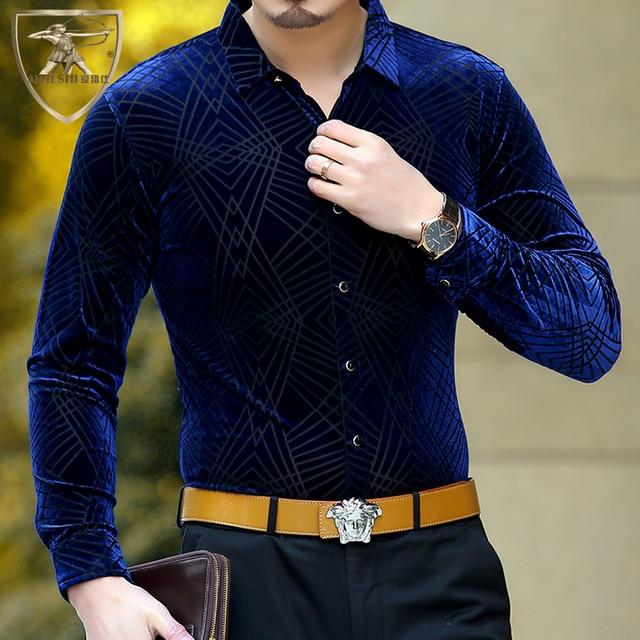 b09f43c0259f 2017 Mens Silk Shirts Clothing Mens Black Velvet Shirts Chemise Homme  Marque Luxe Camicia Social Abbigliamento Uomo Lusso Slim