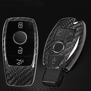 Image 5 - Real Carbon fiber Car Key Shell Cover Trim For Mercedes benz W222 S Class E Class W213 C Class w205 GLC X253