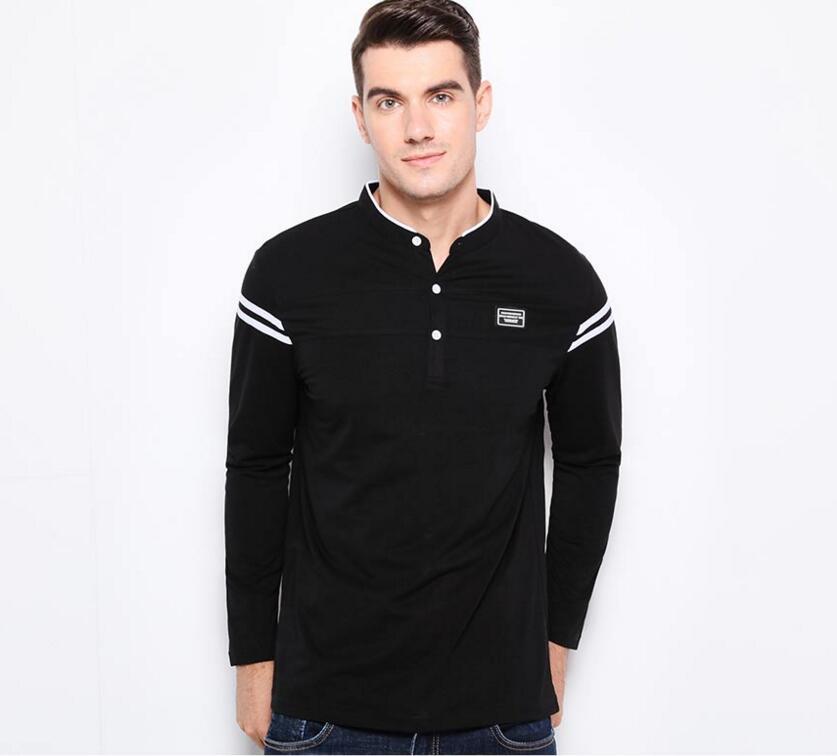 Hommes Patchwork mercerisé coton Slim Fit manches longues t-shirt hommes col Mandarin décontracté T-Shirts solide noir bouton T-Shirts