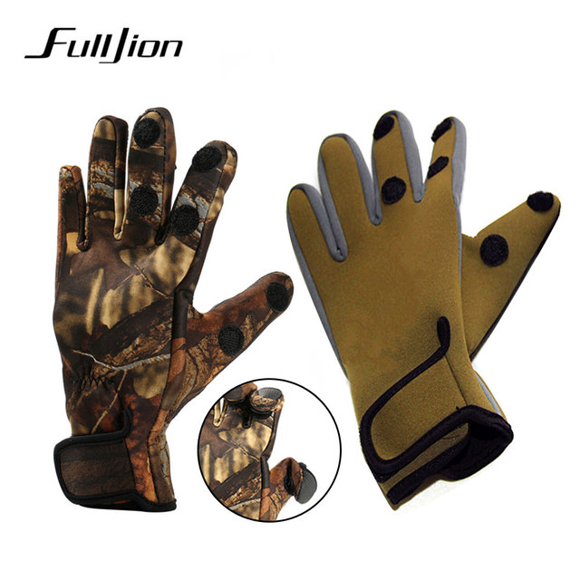 Cheap Fulljion Fishing Gloves Outdoor Winter Warmth Anti-Slip 3 Half-Finger Breathable Windproof durable Hunting Fishing Equipment