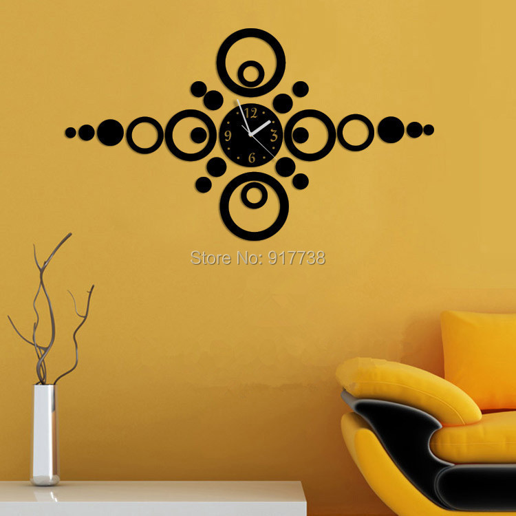 Round Mirror Black Circles Mirror Decorative Wall Sticker Big Size ...