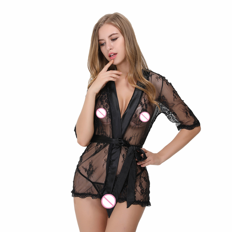 b605cbab963 Women Robe Satin Lace Sleepwear Sexy Lingerie See Through Nighty Short  Sleelve Sleepwear Bedroom Wear With Matching G string-in Robe   Gown Sets  from ...