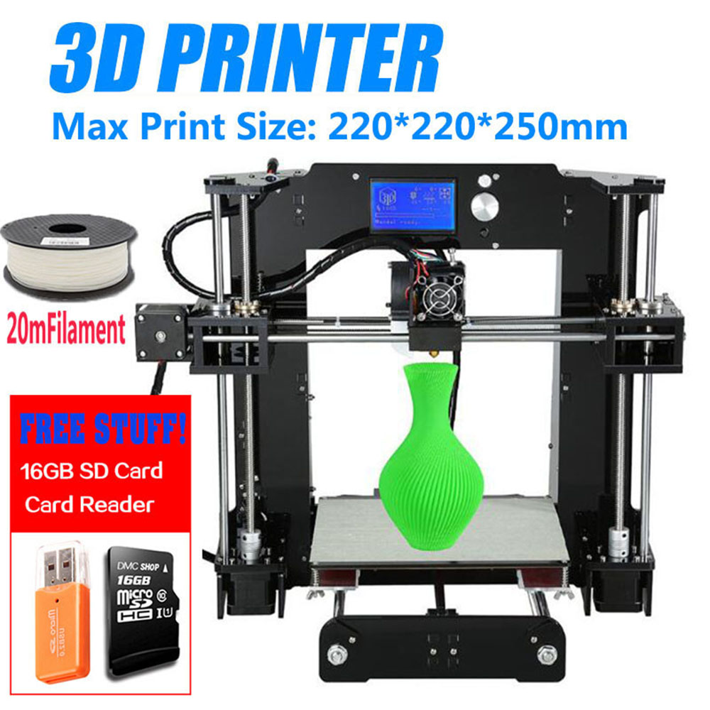 Big Promotion Cheap Price Anet A6 3D Printer High Precision Reprap Prusa i3 DIY 3D Printer Kit Large Printing Size 220*220*250mm anet a2 metal lcd2004 220 220 220 220 270 220mm option 3d printer diy prusa i3 3d printer kit with free 10m filaments