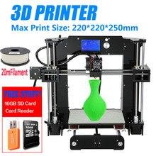 Big Promotion Cheap Price Anet A6 3D Printer High Precision Reprap Prusa i3 DIY 3D Printer Kit Large Printing Size 220*220*250mm new coming anet 3d printer diy large printing size precision reprap prusa i3 3d printer kit diy with free filaments