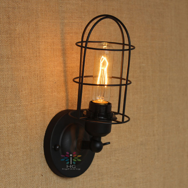 Wire american country cast iron loft black wall sconces wall light wire american country cast iron loft black wall sconces wall light coffee lighting vintage wall lamp aloadofball Images