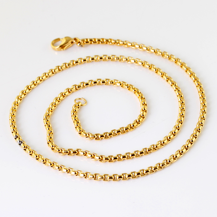 Wholesale Retail! 50cm*2.4mm 14g Fashion Jewelry Stainless Steel Gold color Chains Neklace For Men, Lowest Price Best Quality