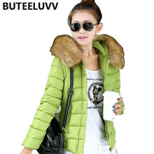 Short Women s Down Coat Fur Collar Hooded Winter Jacket Warm Keep Outerwear Cotton Padded Coat