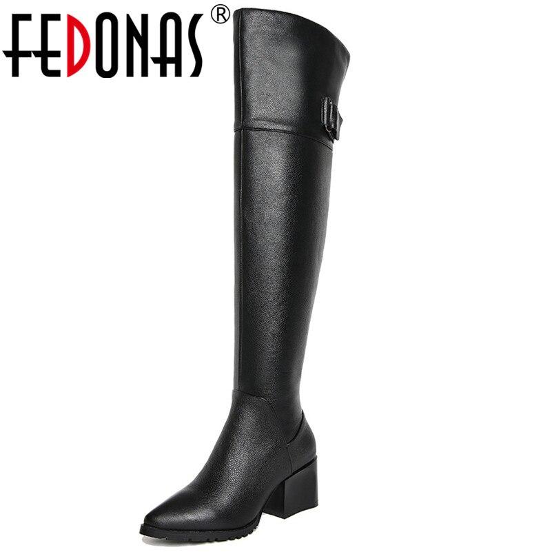 FEDONAS Brand New Women Over The Knee High Boots High Heels Warm Long Winter Snow Boots