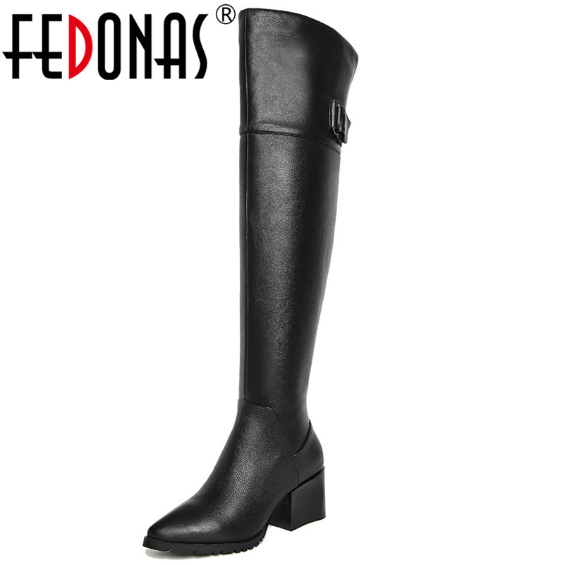 FEDONAS Brand New Women Over The Knee High Boots High Heels Warm Long Winter Snow Boots Ladies Classic Design Motorcycle Boots кондиционер kerasys для волос восстанавливающий сменная упаковка 500 мл