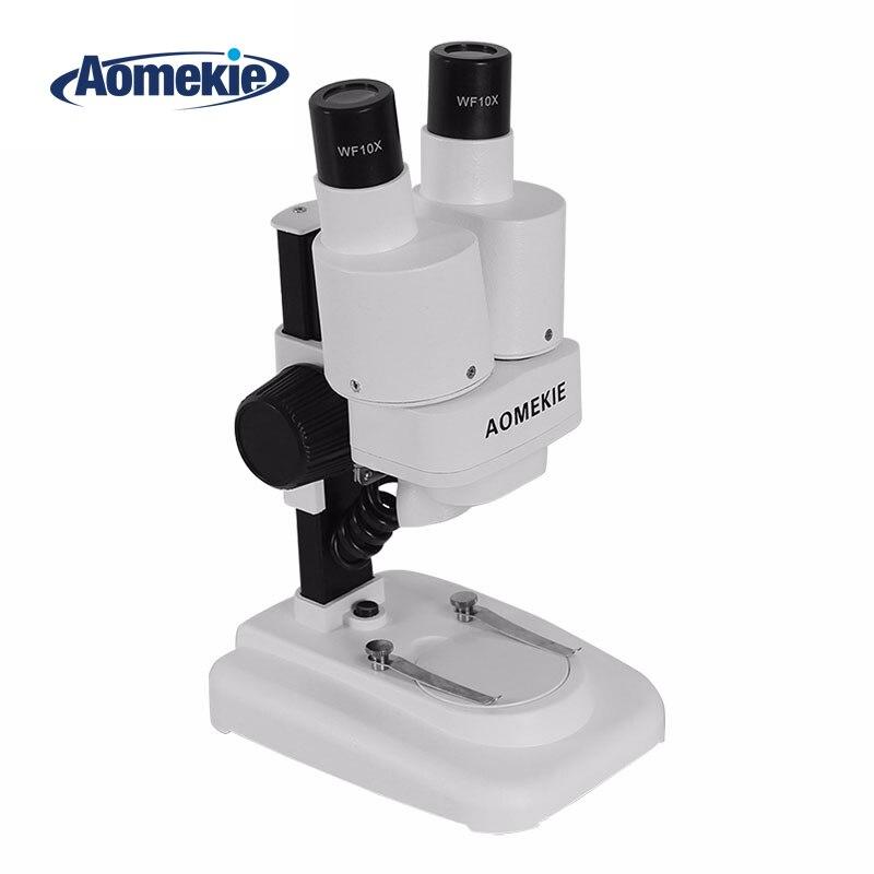 AOMEKIE 20X microscopio estéreo Binocular LED PCB soldadura herramienta de reparación de teléfonos móviles diapositivas Mineral viendo microscopio niños regalo