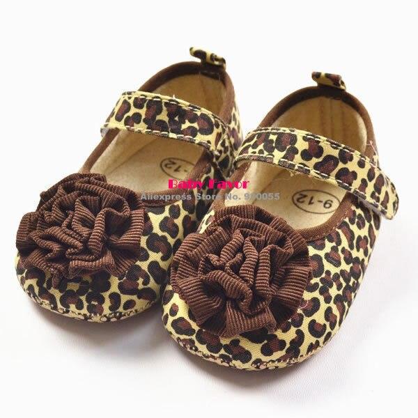 Flower Princess Baby Toddler Kid Girl Leopard Soft Crib Shoes Cozy Prewalker L07