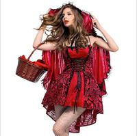 Women's Red Riding Hood Costume Vintage Gothic Fancy Party Dress Halloween embroidery flower Cosplay Costume With Hat