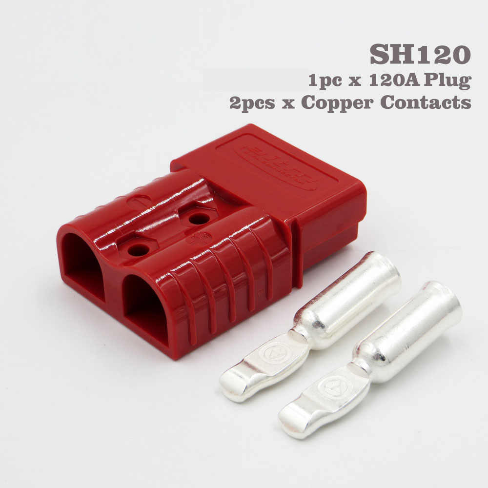 120A 600V Red Color SH120 Plug Connector Double Pole with copper Contacts for Solar Panels Caravans Battery