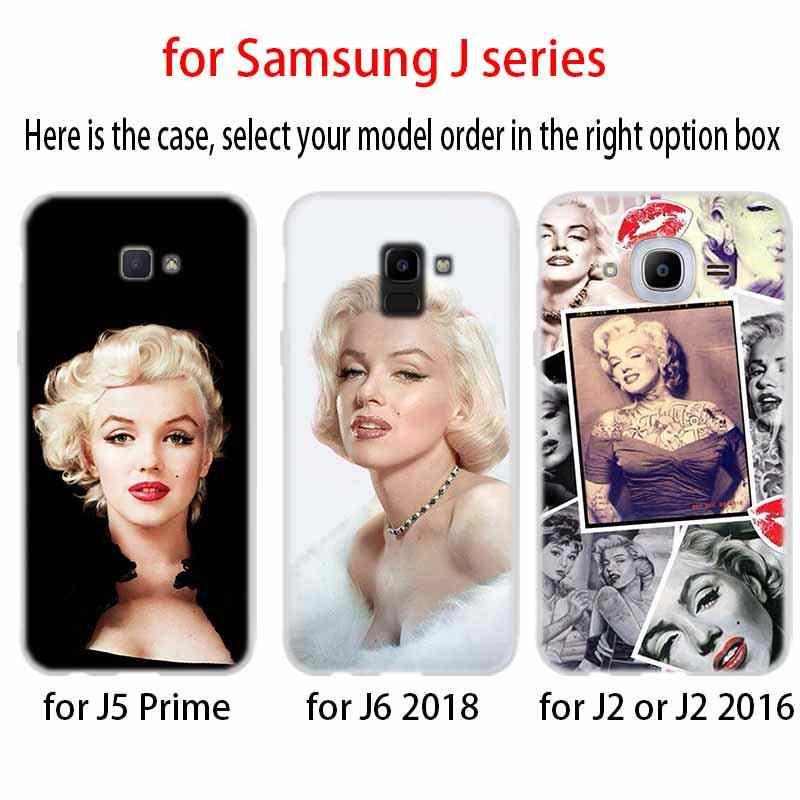 Telefon kılıfı yumuşak kapak Coque Samsung Galaxy J6 J8 J3 J5 J7 J4 artı 2018 2016 2017 ab başbakan pro Ace j610 seksi Marilyn Monroe