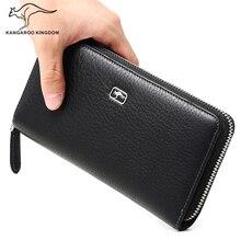 KANGAROO KÖNIGREICH luxus echtem leder männer brieftaschen lang geschäft männlich marke geldbörse reißverschluss kupplung brieftasche kartenhalter