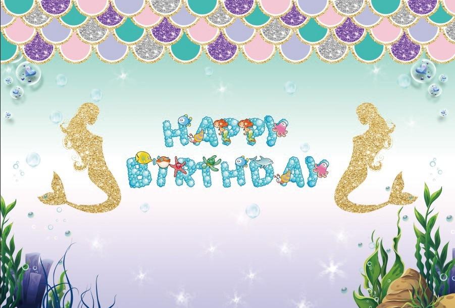 Laeacco Little Mermaid Backdrops Happy Birthday Party Gold