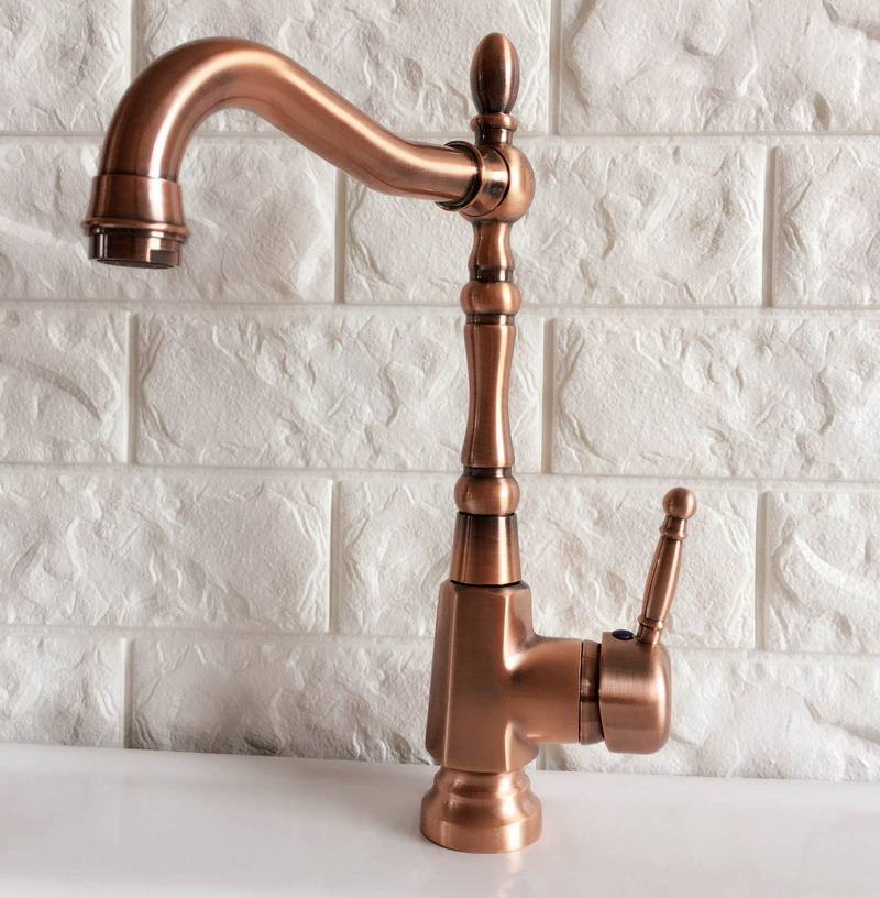 Swivel Spout Water Tap Antique Red Copper Single Handle Single Hole Kitchen Sink & Bathroom Faucet Basin Mixer Tap anf415Swivel Spout Water Tap Antique Red Copper Single Handle Single Hole Kitchen Sink & Bathroom Faucet Basin Mixer Tap anf415