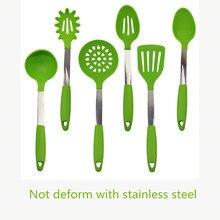 1 Satz 2016 Neue Grüne Farbe FDA Genehmigt Silikon Küchenutensilien Gesetzt Premium Löffel Spatel Suppenschöpfer Küche Utensil Set