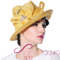 Women Sinamay Hat Derby Church Wedding Cocktail Evening Party Wide Brim Cap Flower Dress Sun hat Beanies Beret Headwear Handmade
