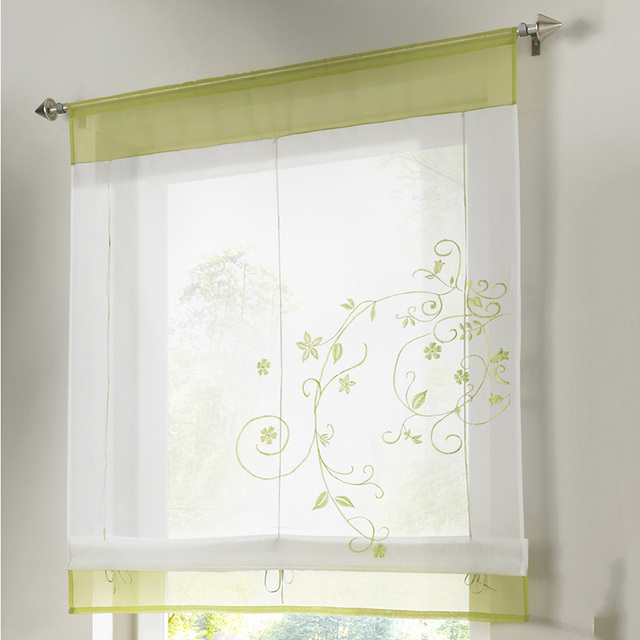 Roman Shade Kitchen Short Curtains Embroidery Roman Blinds White Sheer  Panel Window Treatment Door Curtains Home