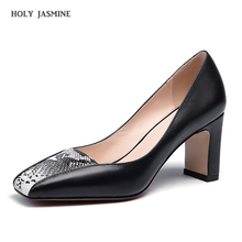 2019 Spring Fashion cow leather shallow square heel big size women pumps slip on elegant wedding office lady party sexy shoes