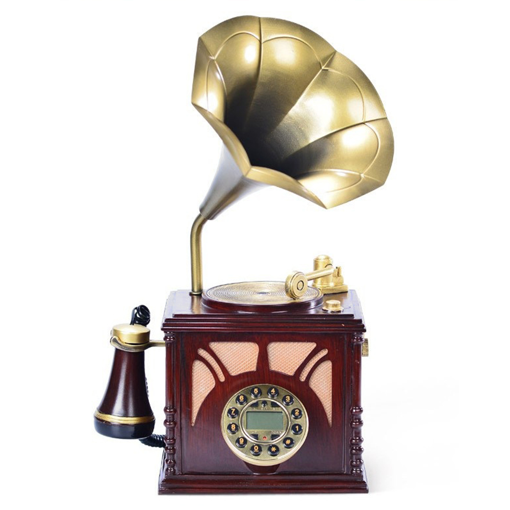 Vintage Decorative Telephone Anique Gramophone Shaped Luxury Rotary Dial Telephone Home Living Room Decor Corded Retro Phone