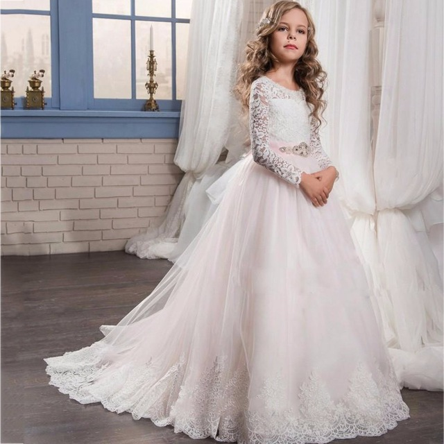 Lace Long Sleeve Flower Girl Dresses 2017 New Crystals Appliques Child Christmas Dress Cheap White Girls Pageant Dress  FD248