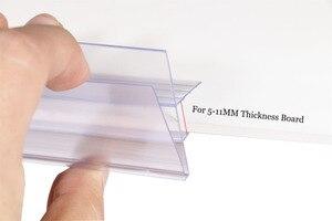 Image 2 - ポップミドルクランプ緑透明棚チケットクリップデータストリップガラス木製クリップ棚価格トーカラベルホルダーチャンネル