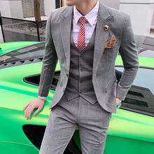 (jacket + waistcoat + trousers) men's new spring/summer thin suit suit men's plaid fashion business casual suit three-piece suit(China)