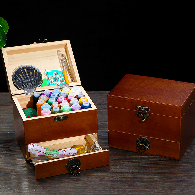 China Style Sewing Kit Sewing Kit Home Sewing Box Hand-sewn Solid Wood Multifunctional Cute Portable