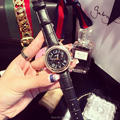 Новая Мода Высокого Качества Женщины Часы Роскошные Шесть Контактный Наручные Часы Леди Кристалл Платье Часы Женские Натуральная Кожа Кварцевые Часы