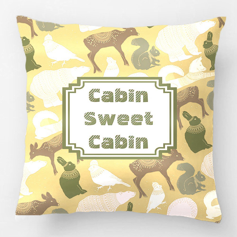 Cabin Winter Forest Animals Pattern Wedding Decorative Cushion Cover Pillow  Case Customize Gift For Car Sofa Seat Pillowcase