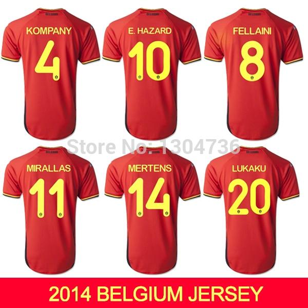 ac1927cd88e The European red devils Belgium Soccer Jerseys Brazil World Cup 2015 Belgium  E.HAZARD KOMPANY Home Football Shirts