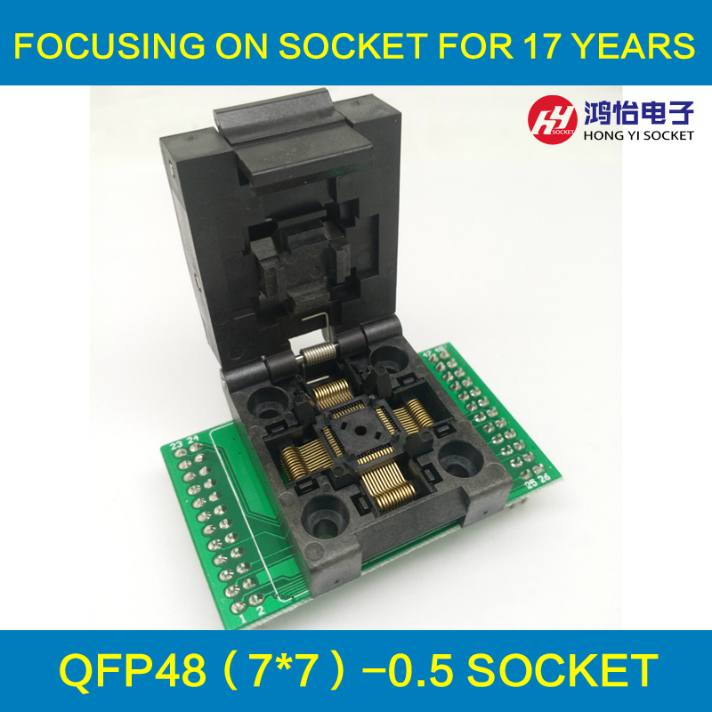QFP48 TQFP48 LQFP48 Clamshell Programming socket Pitch 0.5mm FPQ-48-0.5-06 Test Socket Flash Adapter Size 7*7mm free shipping sop32 wide body test seat ots 32 1 27 16 soic32 burn block programming block adapter