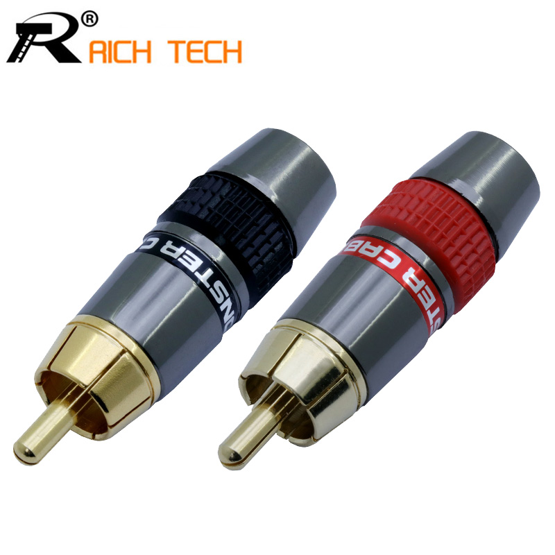 2pairs/4pcs Gold Plated RCA Wire Connector RCA Male Plug Adapter Video/Audio Connector Support 8mm Cable Black&red