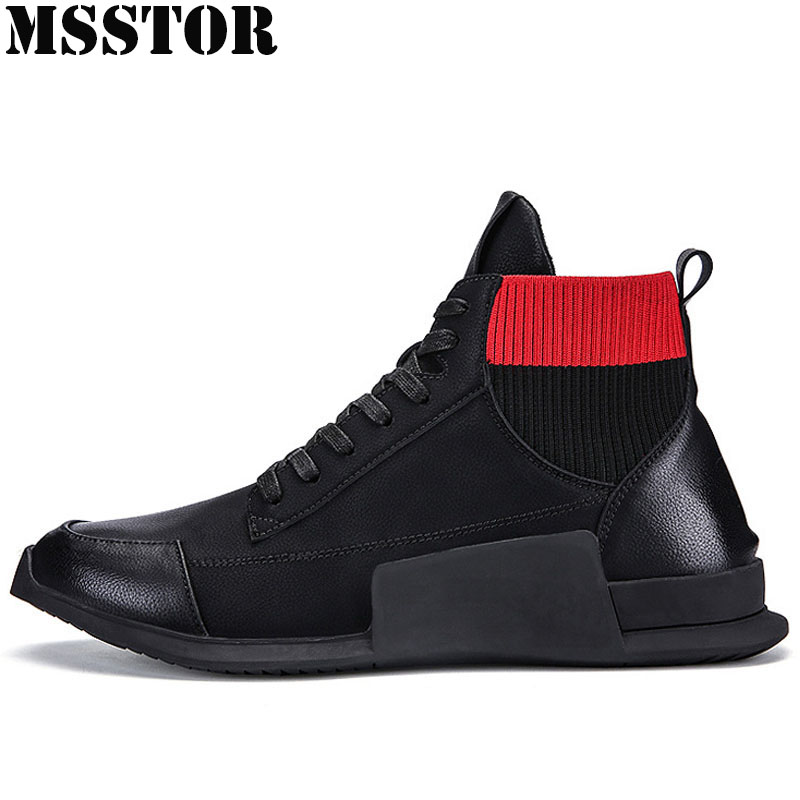 MSSTOR Spring 2018 High Top Men Running Shoes Man Brand Breathable Sports Run Mens Sneakers Outdoor Athletic Sport Shoes For Men