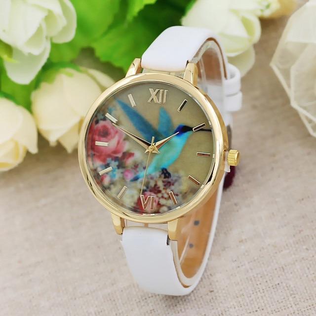 Blue Hummingbird Women Leather Band Analog Quartz Movement Wrist Watch relojes hombre Vintage Relogio Feminino Masculino Erkek K