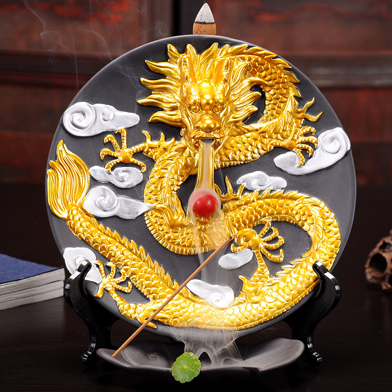 S décoration de la maison en céramique grand Dragon brûleur d'encens créatif salon Dragon ornements bois de santal encens Base four