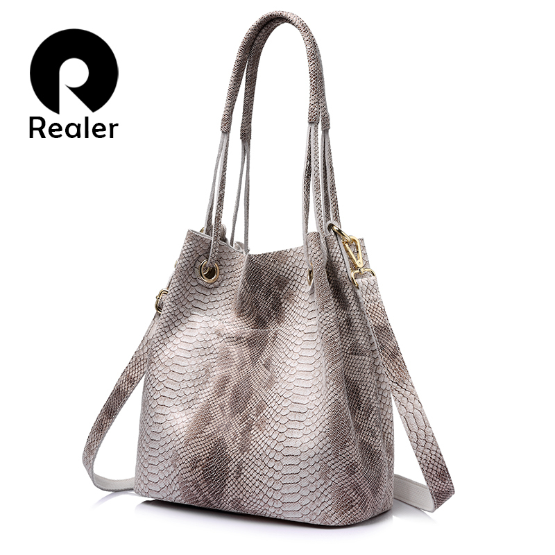REALER woman genuine leather big handbags casual tote bag female serpentine prints shoulder bag ladies large crossbody bags smiley sunshine brand serpentine leather women handbags hobo tote bag female snake tassel big shoulder bags ladies crossobdy bag