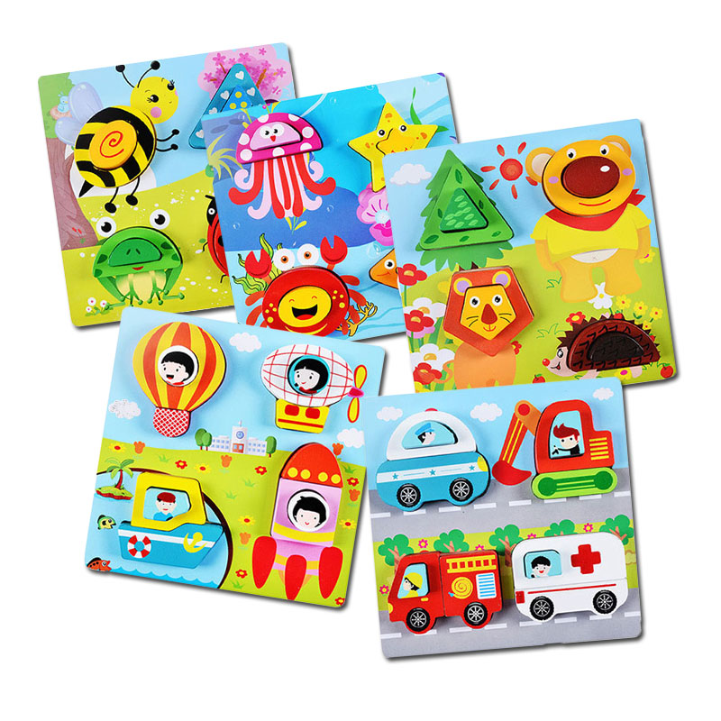 Wooden 3D Puzzles Montessori Educational Toys For Children ...