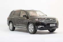 Black 1:18 Toyota Highlander SUV 2012 Diecast Model Car Classcial Vehicle  Metal Miniature Diecast  Wholesale