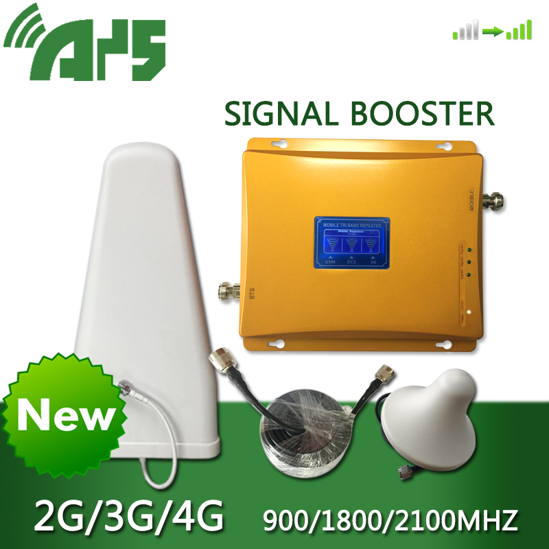 2g 3g 4g Mobile Signal Booster Tir Band 900 1800 2100 Mhz Cellular Signal Cell Phone Repeater Amplifier With LCD Display