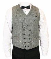 Nieuwste Jas Broek Ontwerpen Grijze Tweed Vesten Voor Mannen Dubbele Breasted Mannen Wedding Prom Diner Pak Vest Bruidegom Vest Colete Terno